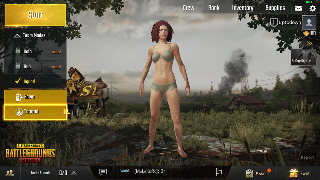 PUBG Mobile main menu