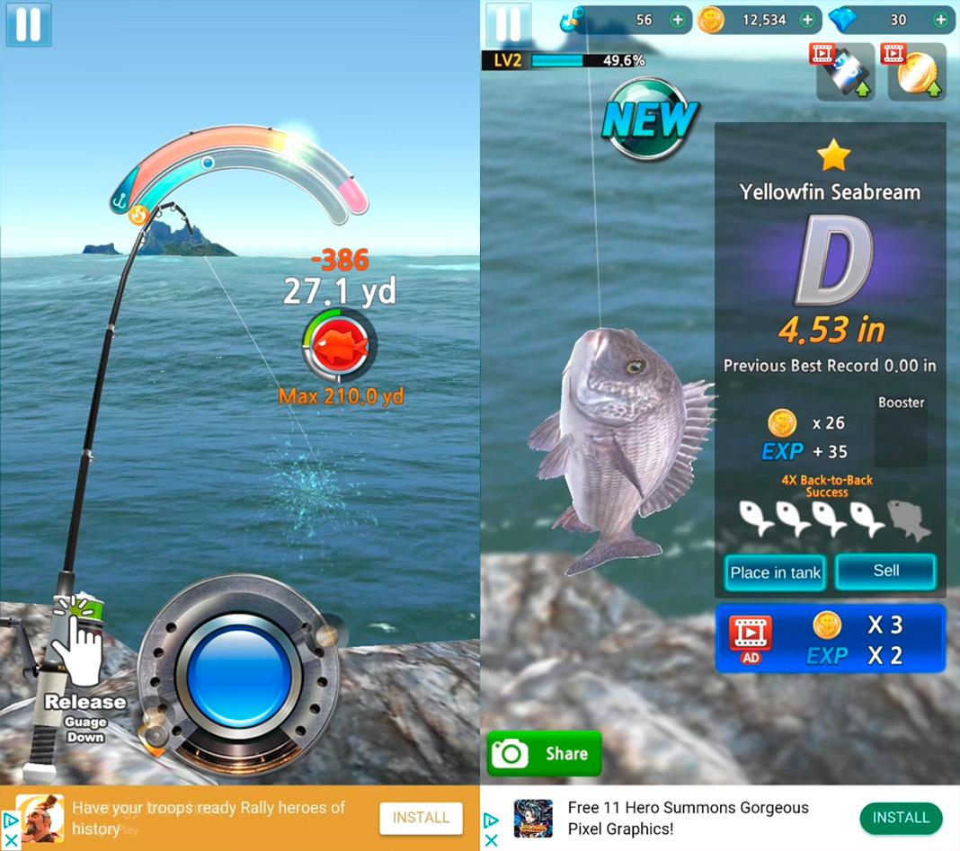 real monster fishing screenshot Los mejores juegos de pesca para Android