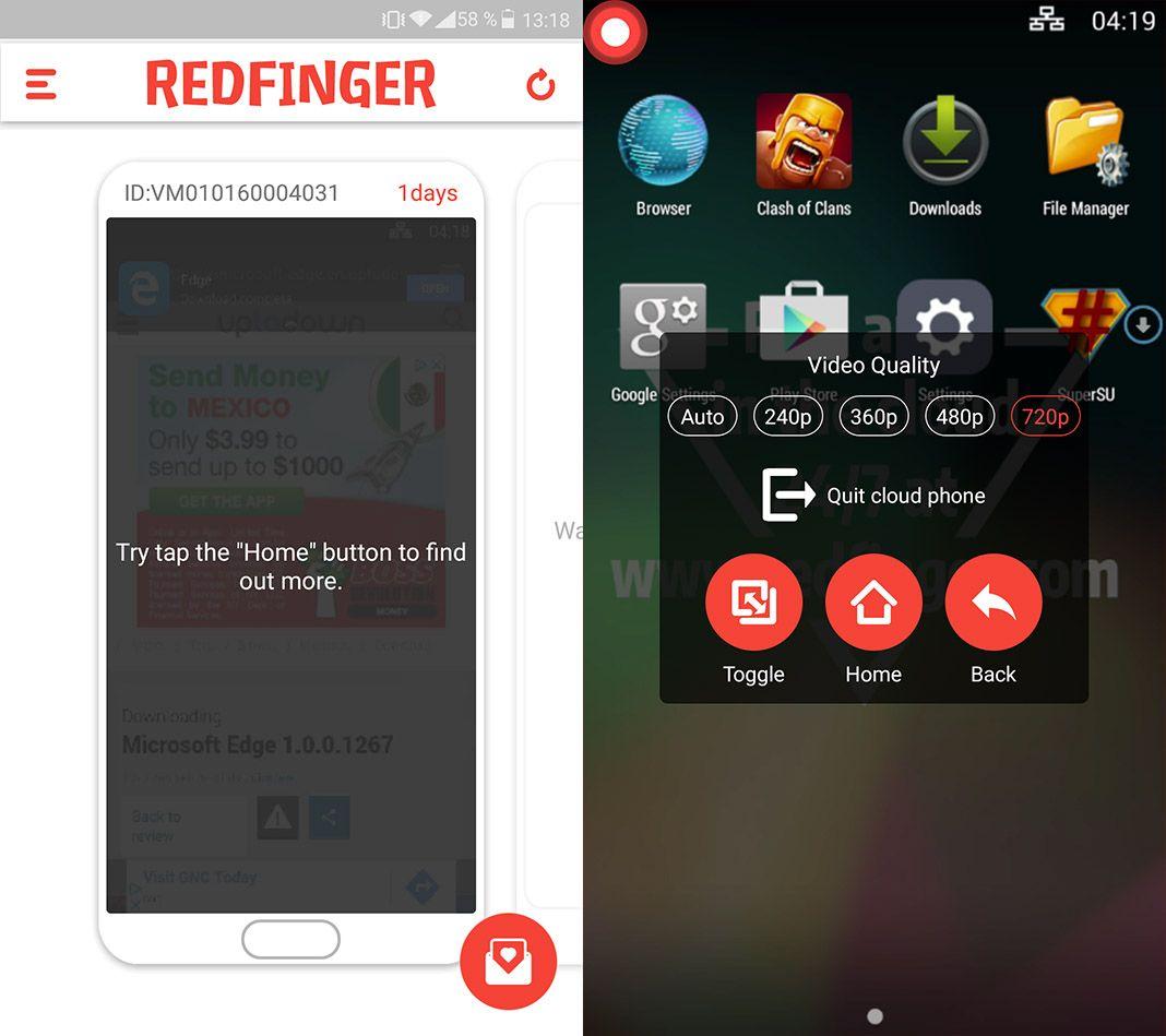 redfinger android screenshot 1 Cómo virtualizar un dispositivo Android desde nuestro propio smartphone