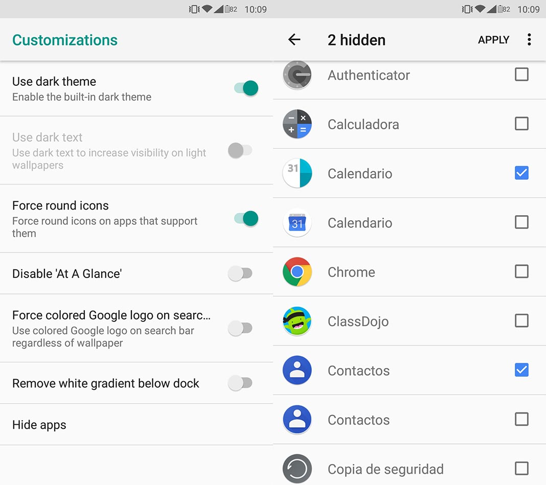 Rootless Pixel Launcher ocultar iconos