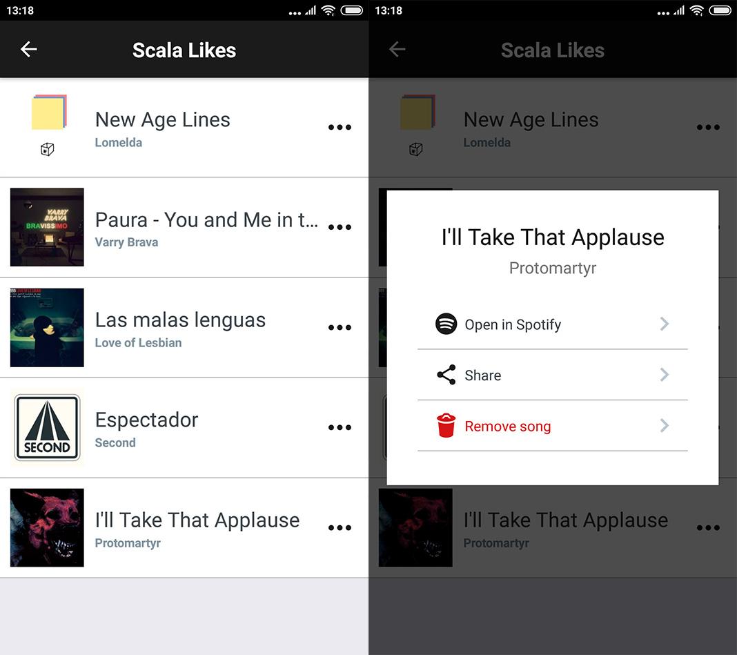 Scala Spotify Tinder