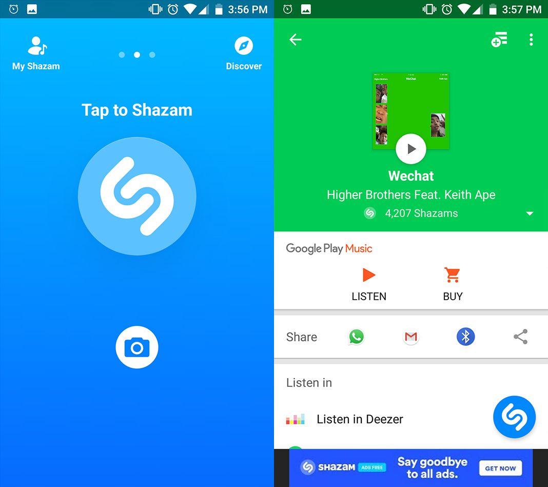 shazam screenshot en Five (+1) free alternatives to Shazam for Android