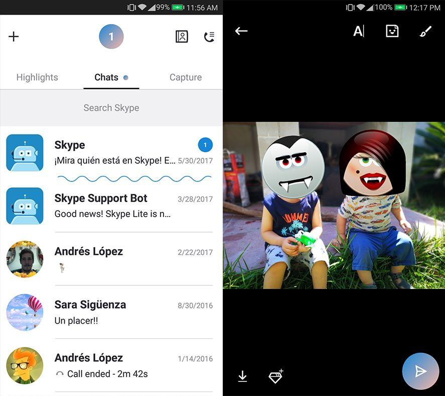 skype 8 android screenshot 2 Skype 8.0 rediseña por completo el cliente para Android