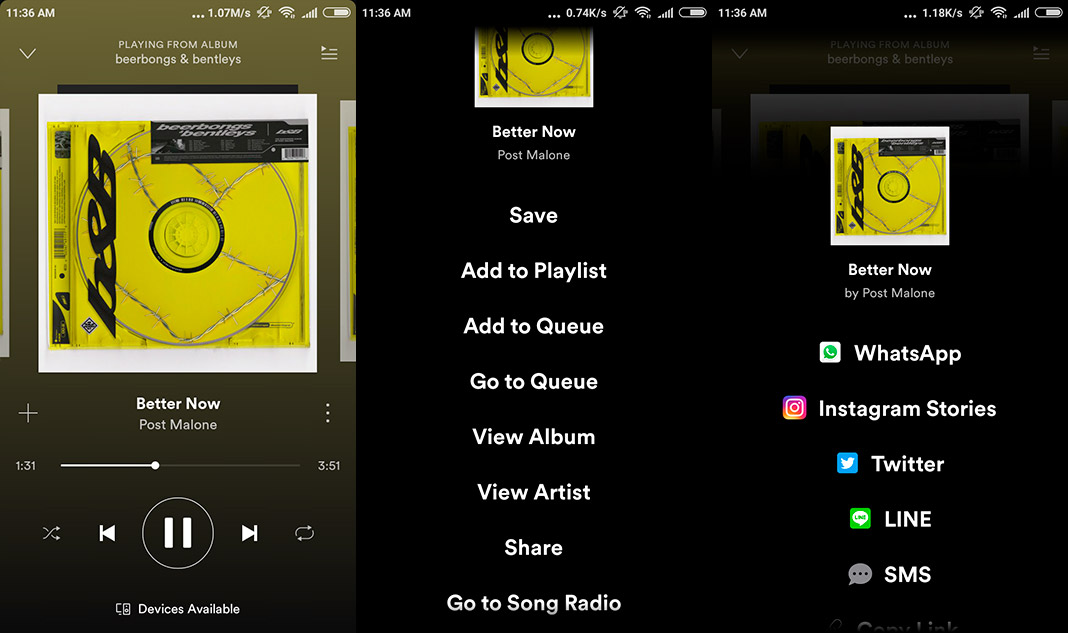share spotify on instagram story