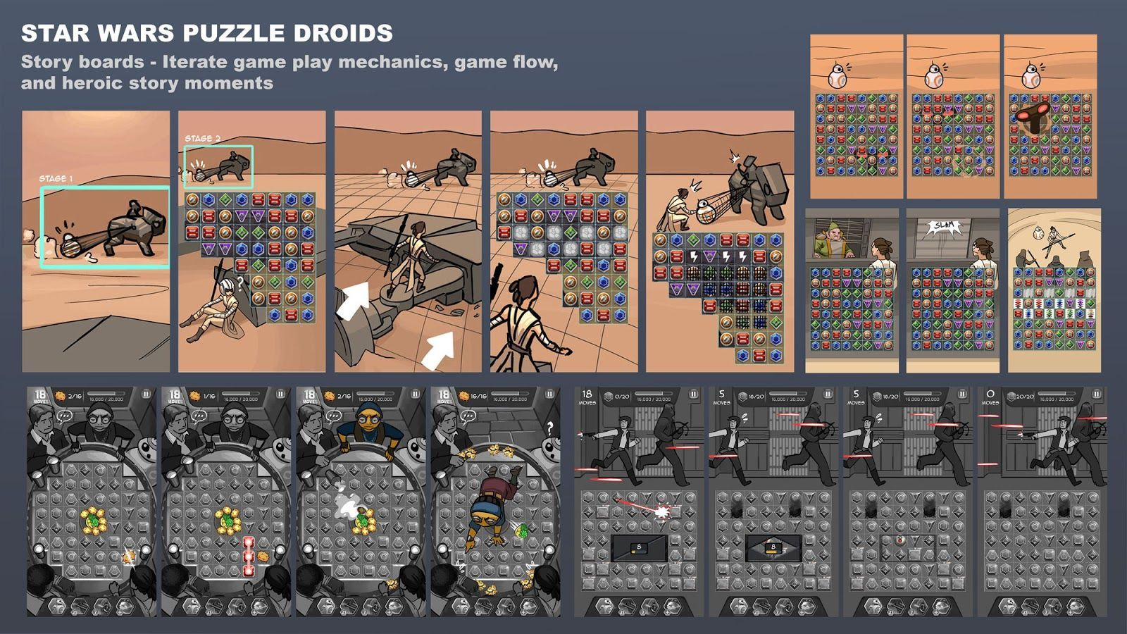 star wars puzzle droids storyboard Disponible Star Wars: Puzzle Droids, un Candy Crush galáctico