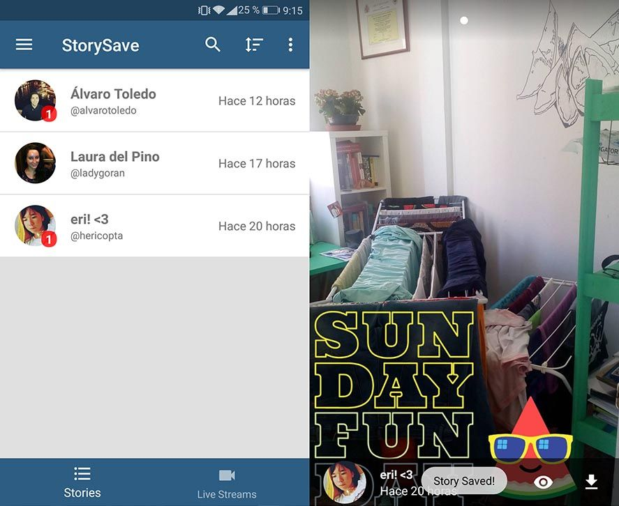 How to save instagram stories from others android dump we will have access to a binder where the stories are stored in the left drop down menu within the application itself although folders will be generated ccuart