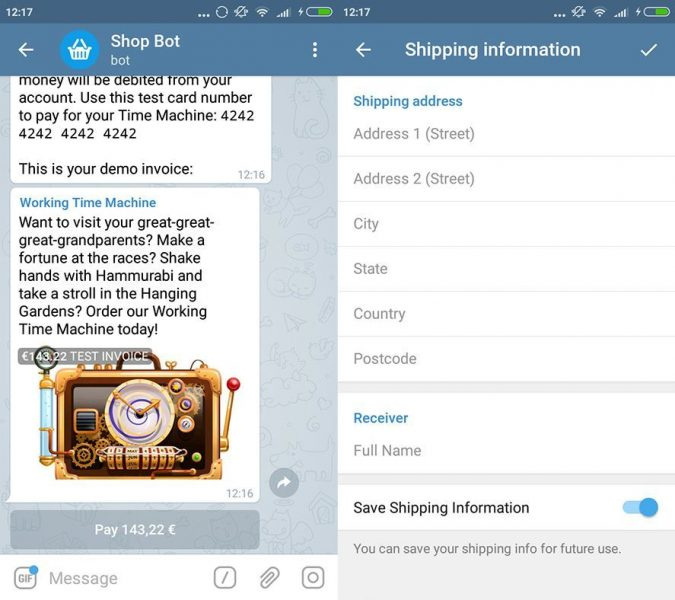 telegram 4 0 screenshot 2 eng Cool new features in Telegram version 4.0: Payments and video messages