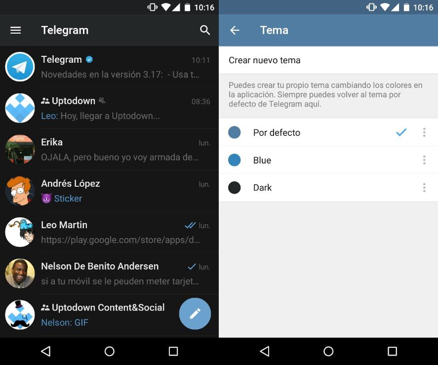 telegram themes screenshot 1 Telegram permite crear temas personalizados en su cliente para Android