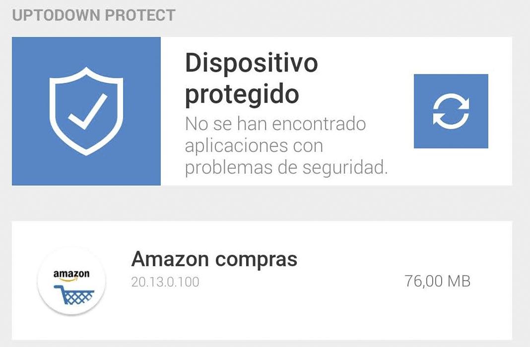 Uptodown protect mensaje