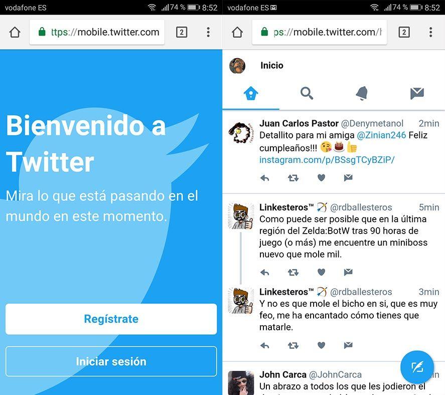 twitter lite screens Cómo convertir la web de Twitter Lite en una app independiente