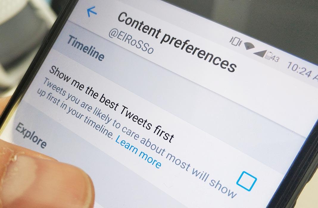 twitter tuits primero screenshot Cómo recuperar el timeline cronologico en Twitter