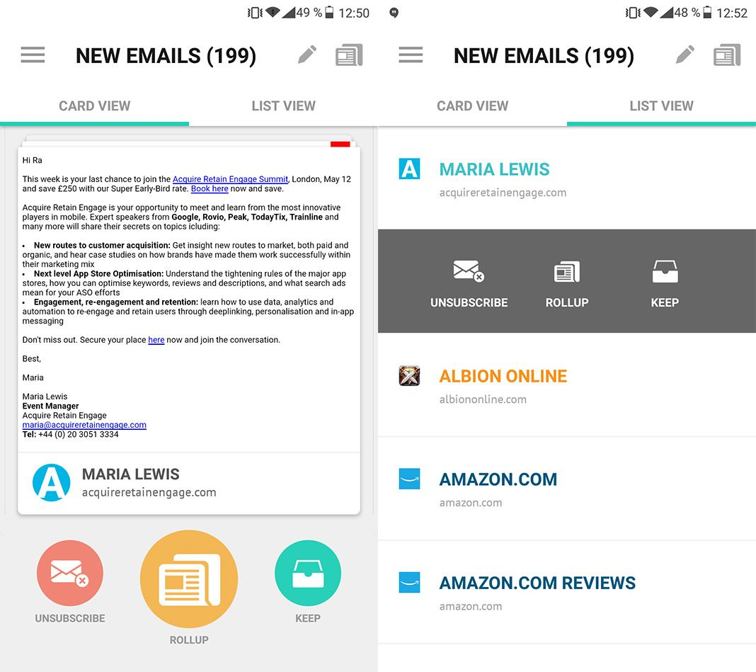 unroll me screenshot Cómo limpiar de spam tu bandeja de entrada con Unroll.Me