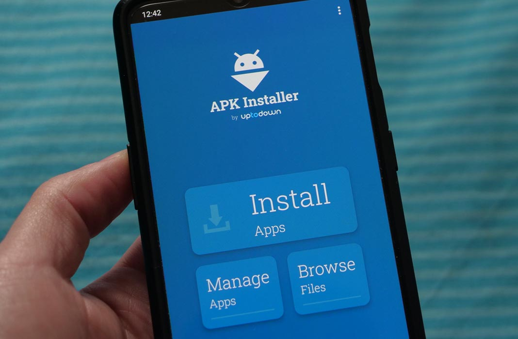 Uptodown APK Installer menu on Android phone device
