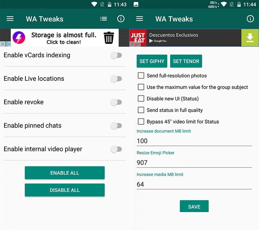 wa tweaks 1 Cómo activar las funciones ocultas de WhatsApp para Android