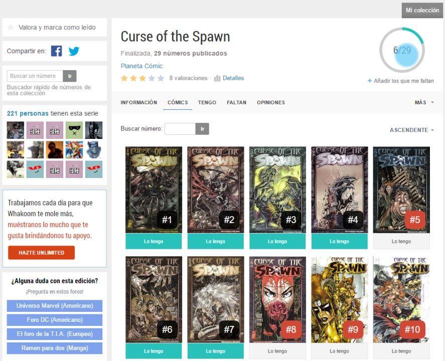 whakoom screenshot 3 Whakoom, la mejor herramienta para organizar tu colección de cómics