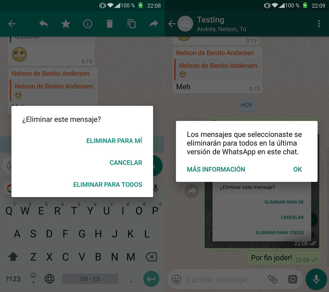 whatsapp borrar mensajes WhatsApp por fin permite eliminar mensajes ya enviados