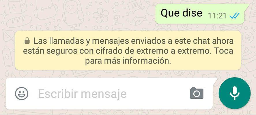WhatsApp cifrado información