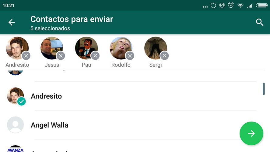 WhatsApp multiples contactos