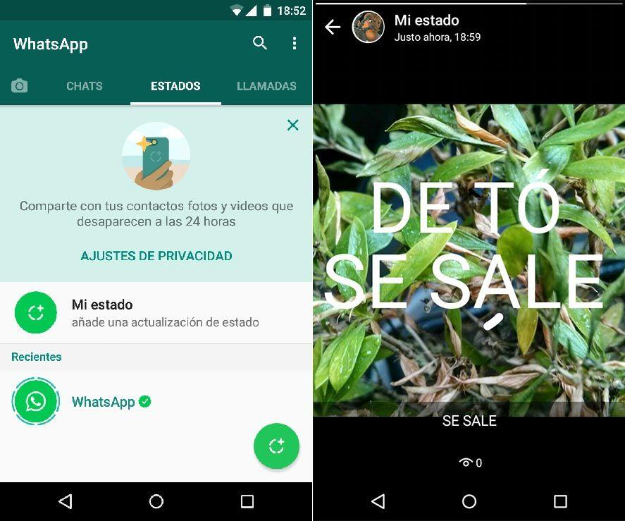 whatsapp estados screenshot 2 New WhatsApp statuses rolled out