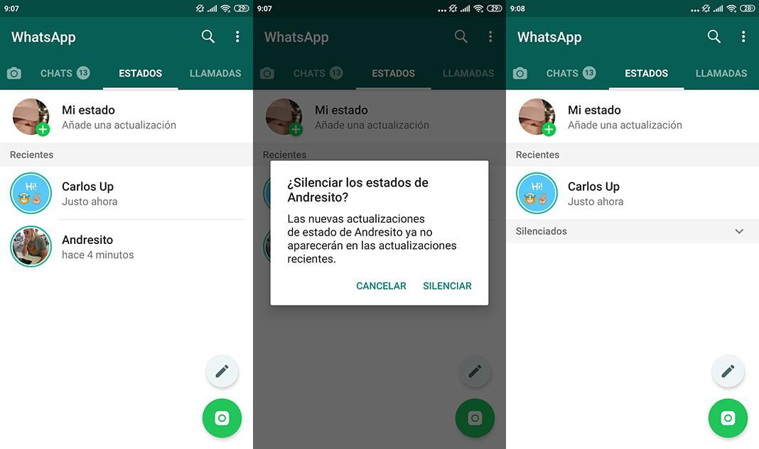 Silenciar y ocultar Estados WhatsApp