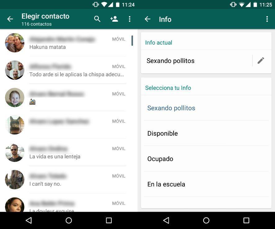 whatsapp estados vuelven WhatsApp recupera las frases de estado en su última beta