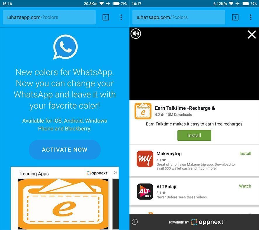 whatsapp fake screenshots Beware! A WhatsApp link offering new color themes is a scam