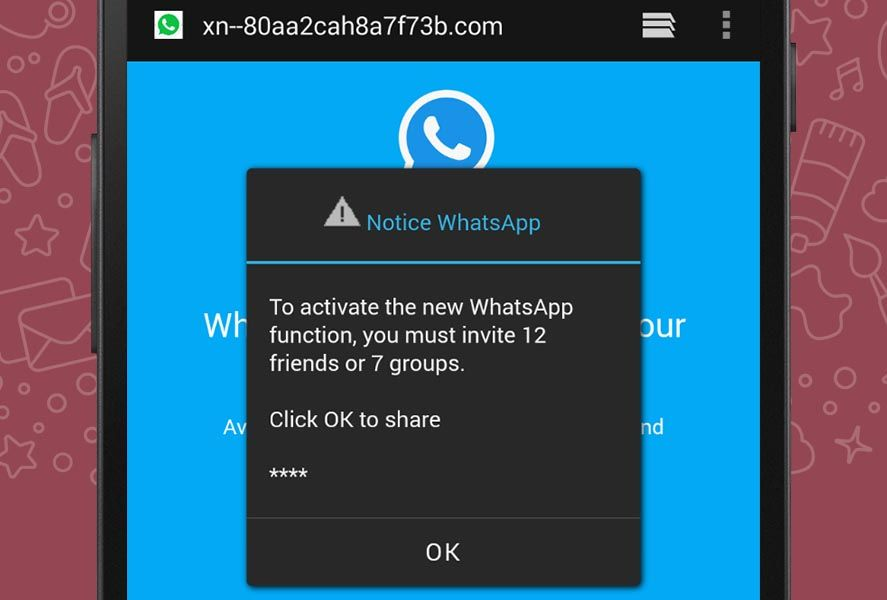 whatsapp fake web Beware! A WhatsApp link offering new color themes is a scam