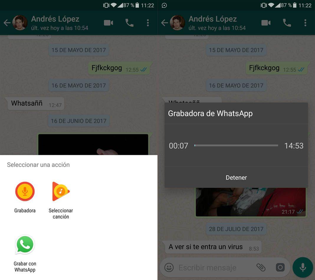 whatsapp grabadora screenshot 1 Cómo grabar mensajes de voz en WhatsApp sin mantener pulsado el botón del micrófono