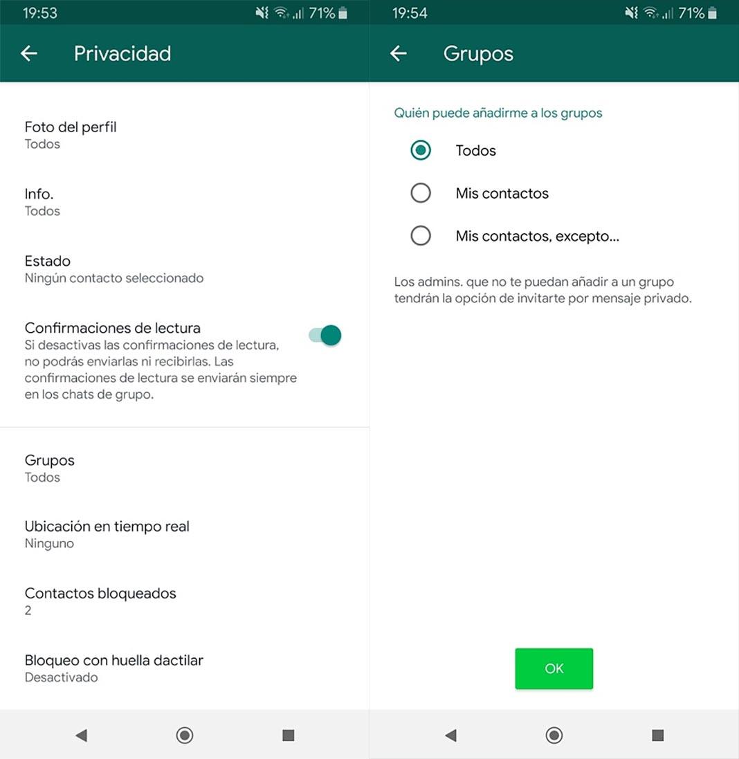 WhatsApp grupos bloquear