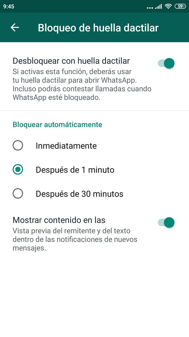 WhatsApp bloqueo por huella