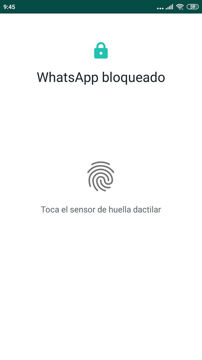 WhatsApp huella dactilar bloqueo